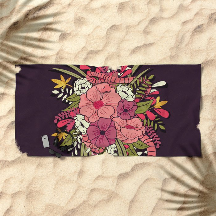 Jungle Bouquet 001 Beach Towel