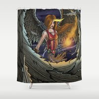 night sky Shower Curtains featuring Night Sky by Jim Vargas Illustrations