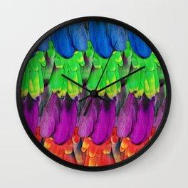 Rainbow Macaw Feathers Wall Clock