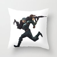 stucky Throw Pillows featuring Dammit Steve by MMCoconut