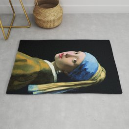 Jan Vermeer Girl With A Pearl Earring Baroque Art Rug