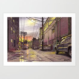 Industrial alley at the sunset Art Print