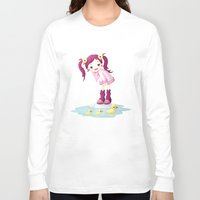 ducks Long Sleeve T-shirts featuring Puddle Ducks by Freeminds