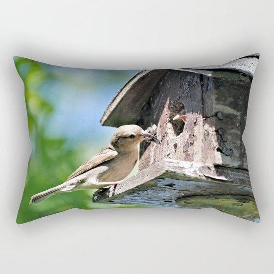 Tasty Bite for Baby Bird Rectangular Pillow
