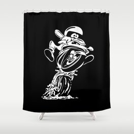 Sportbike motorcycle popping a wheelie cartoon Shower Curtain