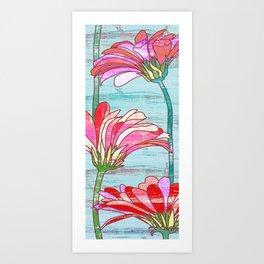 Gerbera flowers print, floral pattern in mint and pink Art Print