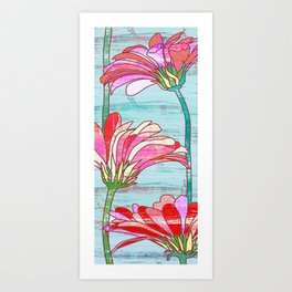 Gerbera flowers print, floral pattern in mint and pink Art Print