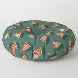 Pizza Party Pattern - Floating Pizza Slices on Teal Floor Pillow