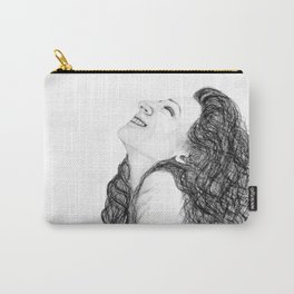 Tell Me Something Good in B/W - Expressions of Happiness Series - Black and White Original Drawing Carry-All Pouch