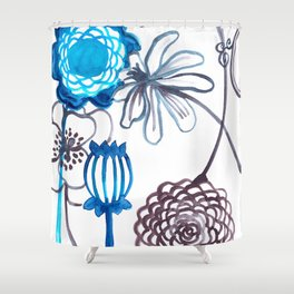 Blue-Seeded Shower Curtain