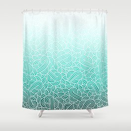 Ombre turquoise blue and white swirls doodles Shower Curtain