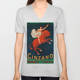 Vintage poster - Cinzano Vermouth Torino Unisex V-Neck