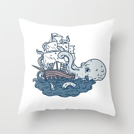 Kraken Attacking Sailing Galleon Doodle Art Color Throw Pillow