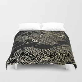 Wilkes-Barre Gold and Black Map Duvet Cover