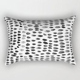 painted dots black Rectangular Pillow