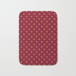 Electric Yellow on Burgundy Red Snowflakes Bath Mat