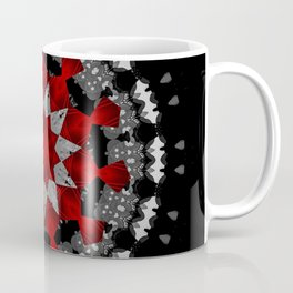 Bright Red Silver Star Flower Mandala Coffee Mug