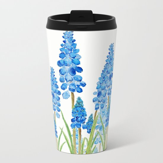 blue grape  hyacinth forest Metal Travel Mug