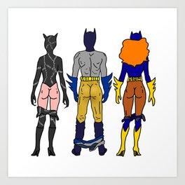 Superhero Butts Love 7 - Cat Bats Art Print