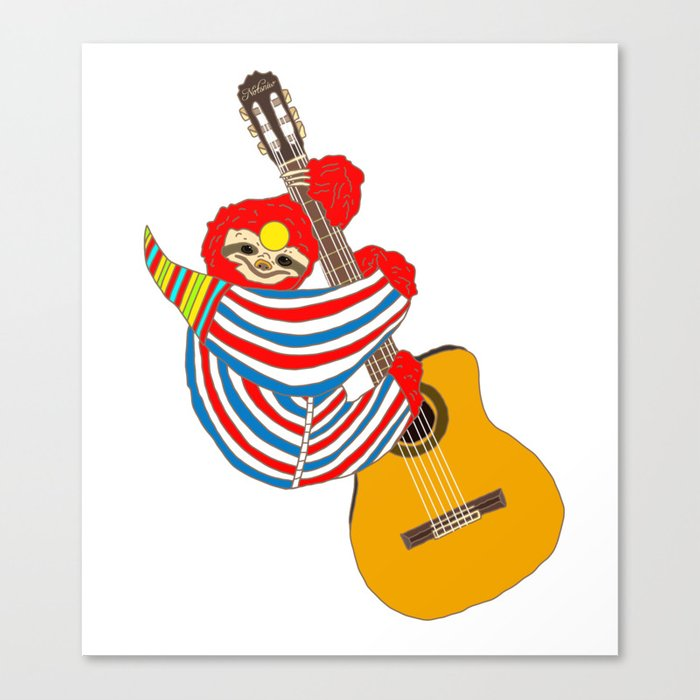 Heroes Sloth Vintage Guitar Canvas Print