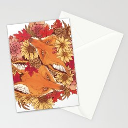 Autumn Fox Bloom Stationery Cards