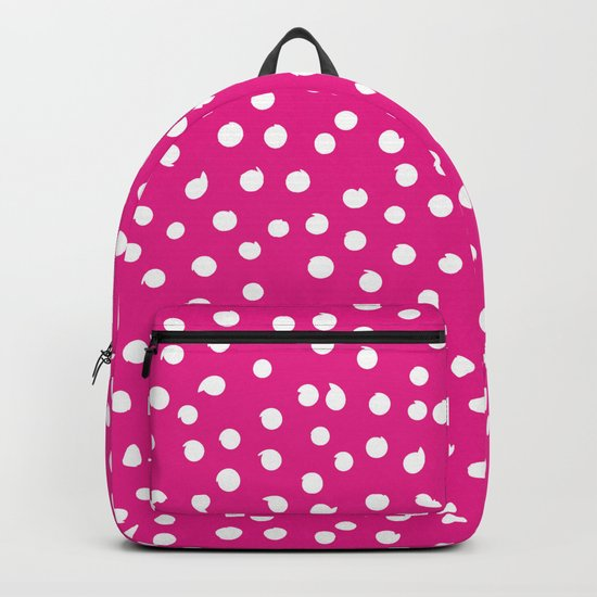 White Dots Polkadots on pink background - Mix & Match Backpack
