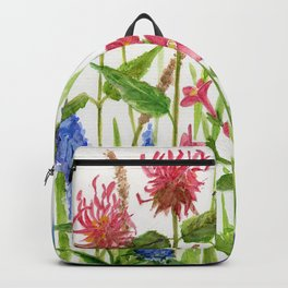 Garden Flowers Botanical Floral Watercolor on Paper Backpack