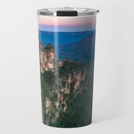 Cold morning but warm sunrise colors in the sky at Three Sisters in Blue Mountains. Travel Mug