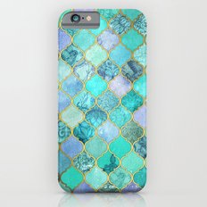 Cool Jade & Icy Mint Decorative Moroccan Tile Pattern Slim Case iPhone 6