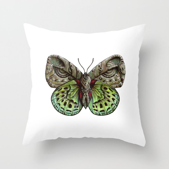 Green Steampunk Butterfly Throw Pillow By Ennas Society6