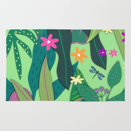 Botanical Print #12 Green Rug