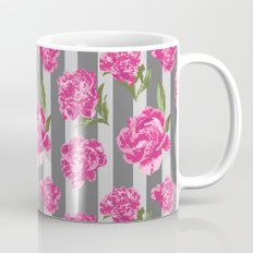Striped Hot Pink Peony Seamless Pattern Mug
