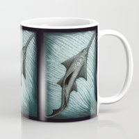 biology Mugs featuring Sawfish - Acrylic Painting by Amber Marine