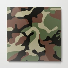 Army Camouflage Pattern Green Forest Metal Print