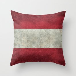 Austrian National flag - Grungy retro version Throw Pillow