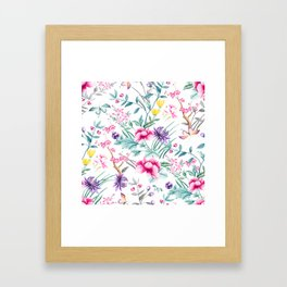 Chinoiserie Decorative Floral Motif Framed Art Print