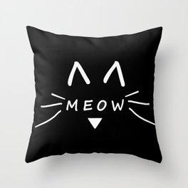 Meow Black Cat Throw Pillow