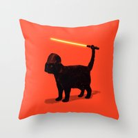 shipping Throw Pillows featuring Cat Vader by nicebleed