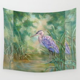 """Solitude"" - Pastel of Great Blue Heron Wall Tapestry"
