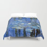 monet Duvet Covers featuring water lilies a la Monet by Jo.PinX