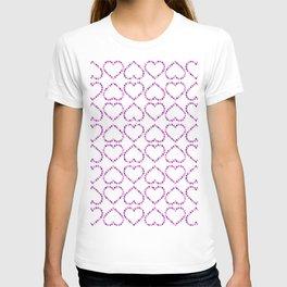 Romantic pink lilac glitter valentine hearts pattern T-shirt