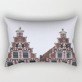 Iconic twin canal houses near Spaarne river in Haarlem in winter | Haarlem historical city, the Netherlands | Urban travel photography Art Print Rectangular Pillow
