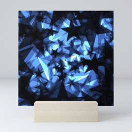 Dark blue space stars with a luminescence from foil in perspective. Mini Art Print