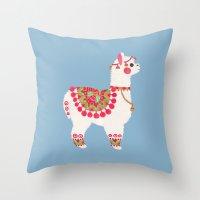 alpaca Throw Pillows featuring The Alpaca by haidishabrina