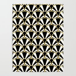 Black, White and Gold Classic Art Deco Fan Pattern Poster