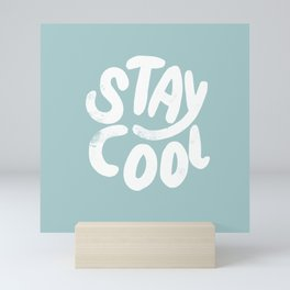 Stay Cool Vintage Pale Blue Mini Art Print