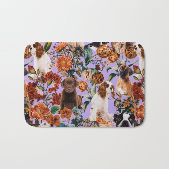 Dog and Floral Pattern Bath Mat