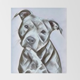 Pit Bull lover, a portrait of a beautiful pit bull puppy Throw Blanket