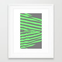 stripes Framed Art Prints featuring Green & Gray Stripes by 2sweet4words Designs