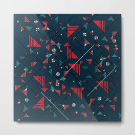 Geometric Abstract Red Pattern Metal Print
